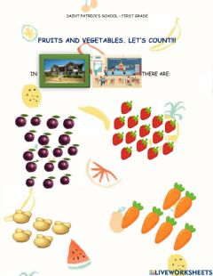 Ficha interactiva Fruits, vegetables and numbers.
