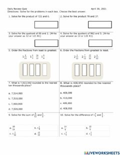 Interactive worksheet Daily Review Quiz