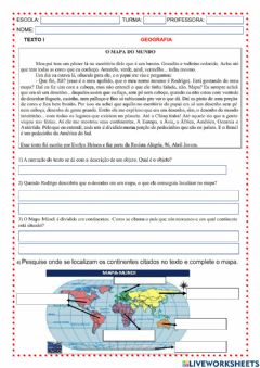 Interactive worksheet Continentes
