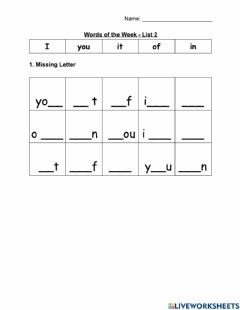 Interactive worksheet WOW - Early Reader - List 2 - Fill in the blank