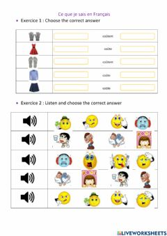 Interactive worksheet French 1