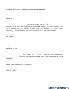 Interactive worksheet Formal  Email Expressions