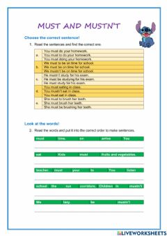 Interactive worksheet Must and Mustn't Exercises