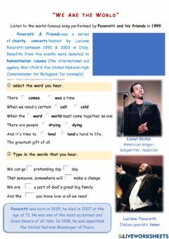 Interactive worksheet We are the World