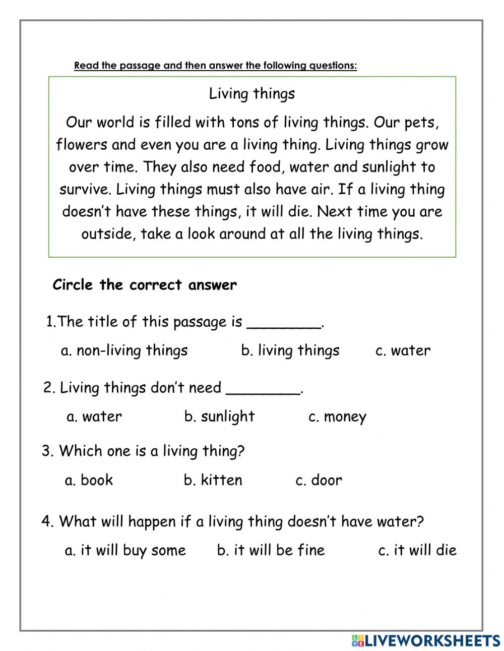 Reading Comprehension Online Exercise For Grade 2