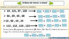 Interactive worksheet Ordenar números