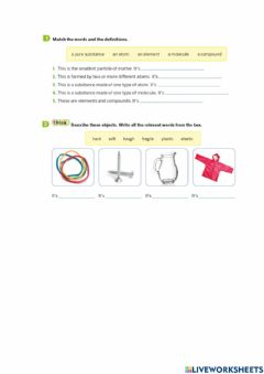 Ficha interactiva Review atoms and molecules