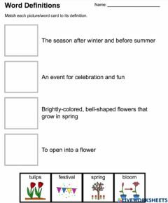 Interactive worksheet Word Definitions
