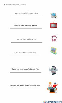 Interactive worksheet Frequency adverbs and technological tools