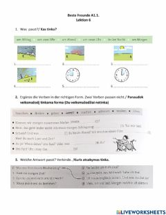 Interactive worksheet Beste Freunde A1.1. Lektion 6. Kontrollarbeit