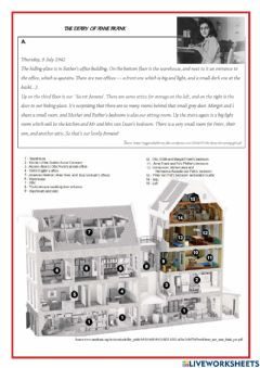 Interactive worksheet The Diary of Anne Frank - the annexe