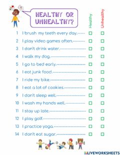 Interactive worksheet Healthy or unhealthy