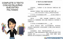 Interactive worksheet Texto da turma