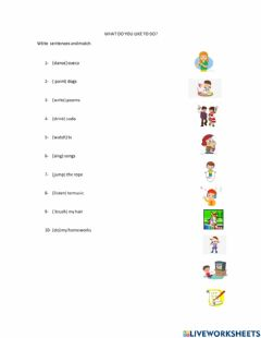 Interactive worksheet What do you like to do