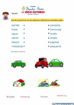 Interactive worksheet Los adjetivos