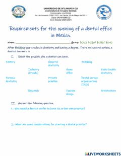 Interactive worksheet Requirements for a dental practice