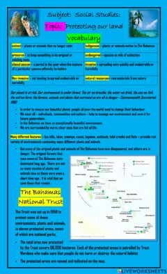 Interactive worksheet Protecting our land: Notes