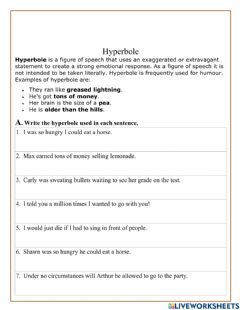 Interactive worksheet Hyperbole Figurative Language