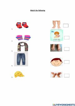 Ficha interactiva Evs -clothes and body part-kg1