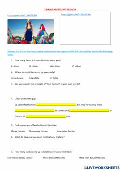 Interactive worksheet Talking about fast fashion