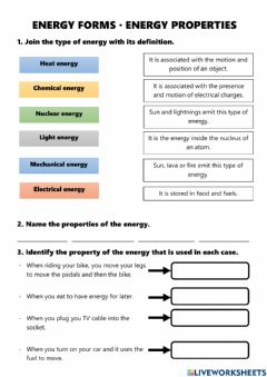 Interactive worksheet Form and Properties of energy