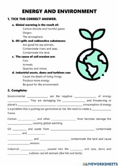 Interactive worksheet Energy and Environment