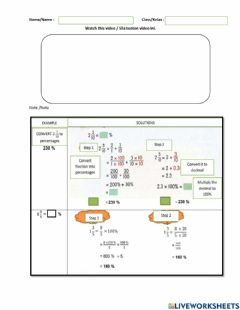 Interactive worksheet Fractions,decimal and percentages