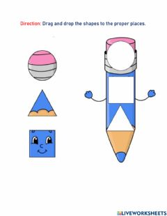 Ficha interactiva Shapes, circle, square and triangle