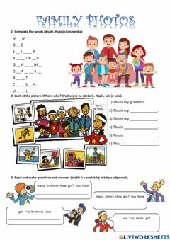 Interactive worksheet Family photos