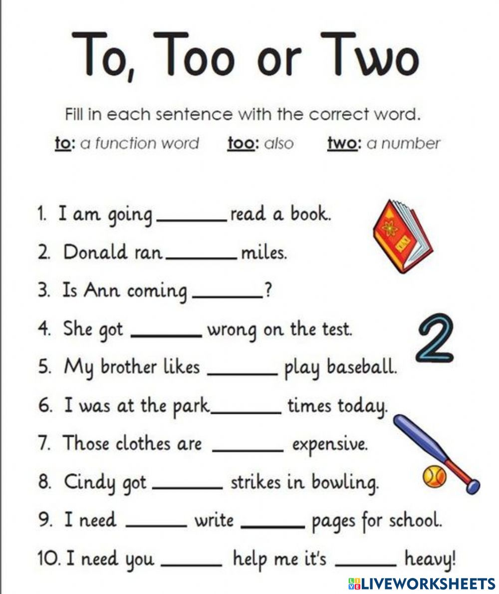 To, too, two interactive worksheet Inside To Too Two Worksheet