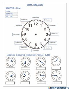 Interactive worksheet What time is it now?