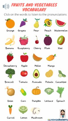 Interactive worksheet Vocabulary fruits and vegetables