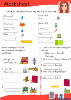 Interactive worksheet Classroom and school objects