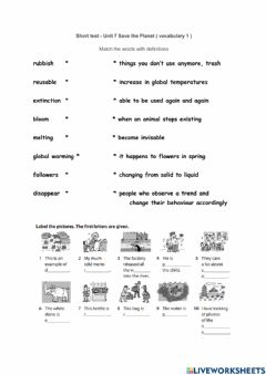 Interactive worksheet Save the Planet - vocabulary