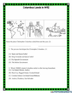 Interactive worksheet Christopher Columbus landfall 1492