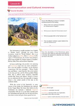 Interactive worksheet Pachamama: mother earth