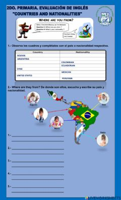 Interactive worksheet 2do. Primaria. Country and Nationality