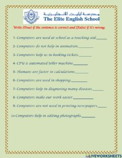 Interactive worksheet Uses of computer