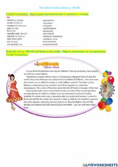 Interactive worksheet The balloon fashion show. p.100 SB