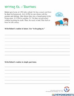 Ficha interactiva Writing Ex. - Routines in Future and Past