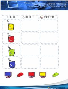 Interactive worksheet Cuadro doble mouse y monitor