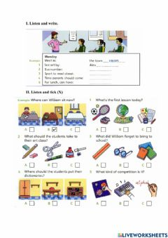Interactive worksheet Subjects - school things