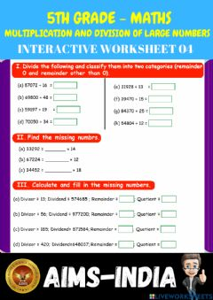 Ficha interactiva 5th-maths-ps04-multiplication and division of large numbers  - ch 03
