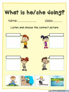 Interactive worksheet What is he-she doing?