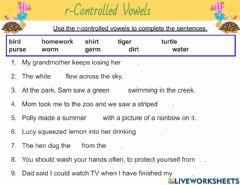 Interactive worksheet R-Controlled Vowels