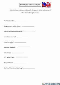 Interactive worksheet British accent vs American accent