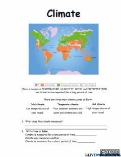 Interactive worksheet Climate in the world