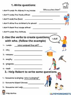 Interactive worksheet Question who