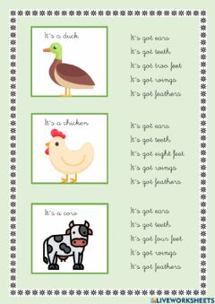 Interactive worksheet Has got and animals