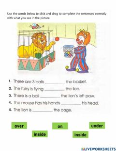 Interactive worksheet Prepositions at the Circus
